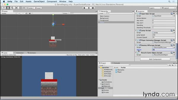Recycling the player game object: Unity 5 2D Essential Training (2015)