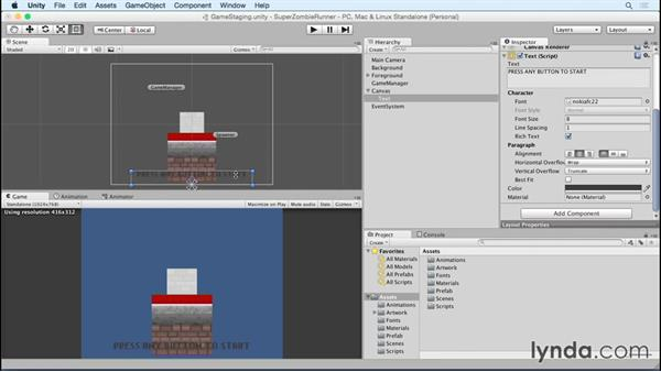Laying out text: Unity 5 2D Essential Training (2015)
