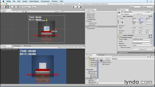 Adding in a simple lighting effect overlay: Unity 5 2D Essential Training (2015)
