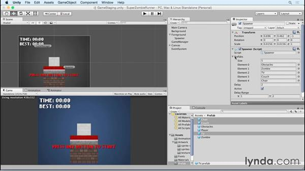 Adding in animated obstacles: Unity 5 2D Essential Training (2015)