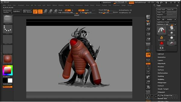 Using ZSpheres to create basic anatomy: Sculpting a Creature with ZBrush and Photoshop