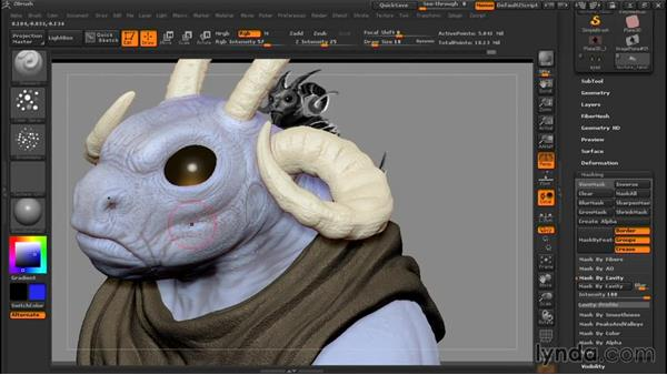 Adding basic texture: Sculpting a Creature with ZBrush and Photoshop