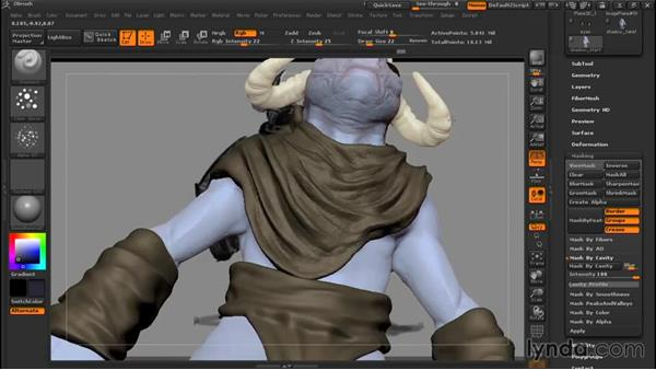Adding basic shadowing: Sculpting a Creature with ZBrush and Photoshop