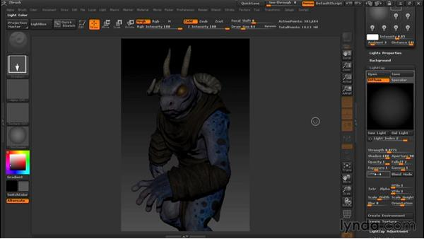 Creating new lights: Sculpting a Creature with ZBrush and Photoshop