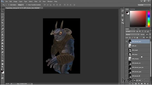 Opening renders in Photoshop: Sculpting a Creature with ZBrush and Photoshop