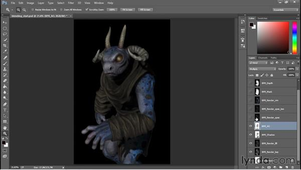 Renders and blending modes: Sculpting a Creature with ZBrush and Photoshop