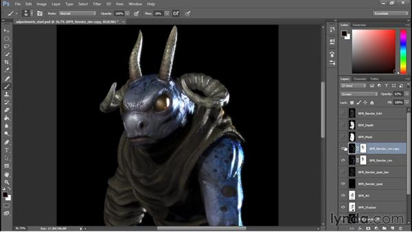 Adjusting layers and intensities: Sculpting a Creature with ZBrush and Photoshop