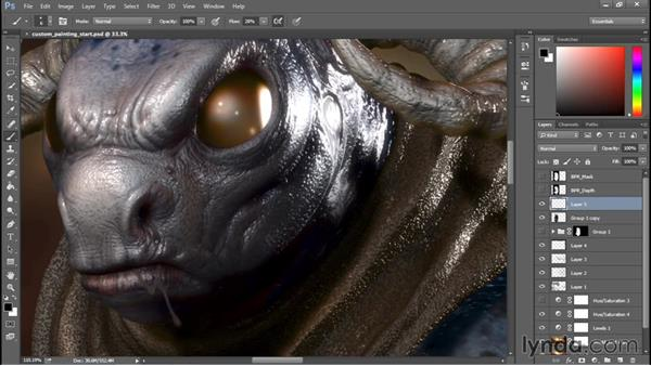 Custom painting in Photoshop: Sculpting a Creature with ZBrush and Photoshop