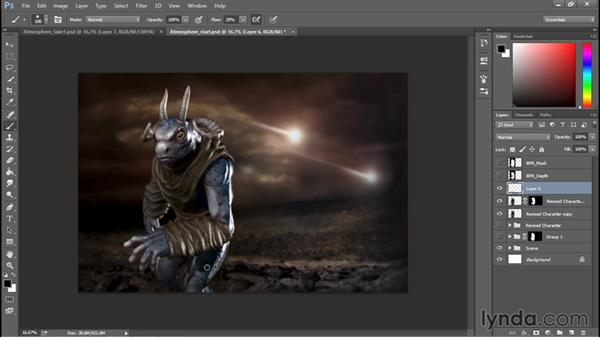 Adding atmosphere and extra lighting: Sculpting a Creature with ZBrush and Photoshop