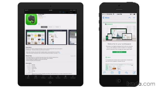 Installing Evernote on a mobile device: Up and Running with Evernote (2015)