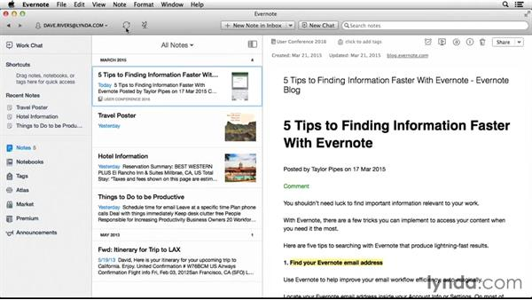 Creating a multimedia note: Up and Running with Evernote