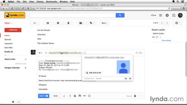 Creating a note from an email: Up and Running with Evernote