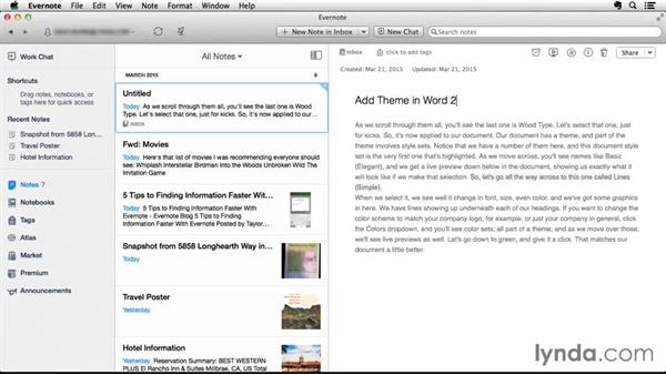 Exporting notes from lynda.com to Evernote: Up and Running with Evernote