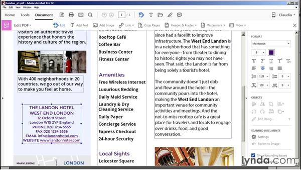 Editing text and graphics: Acrobat DC Essential Training