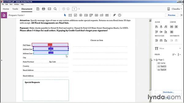 Creating text fields: Acrobat DC Essential Training