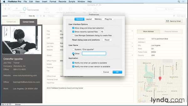Touring essential preferences: FileMaker Pro 14 Essential Training