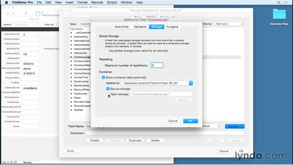 Applying field options and using remote container storage: FileMaker Pro 14 Essential Training
