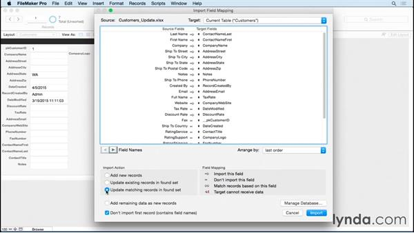 Importing records to refresh data: FileMaker Pro 14 Essential Training