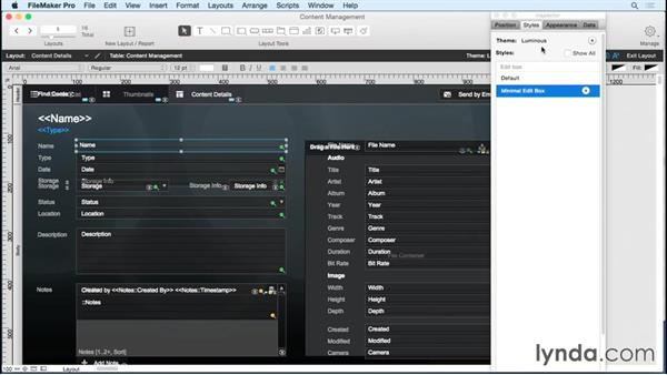Working with layout themes: FileMaker Pro 14 Essential Training