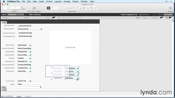 Exploring layout tools and status area in Layout mode: FileMaker Pro 14 Essential Training