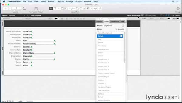 Applying themes to layouts: FileMaker Pro 14 Essential Training