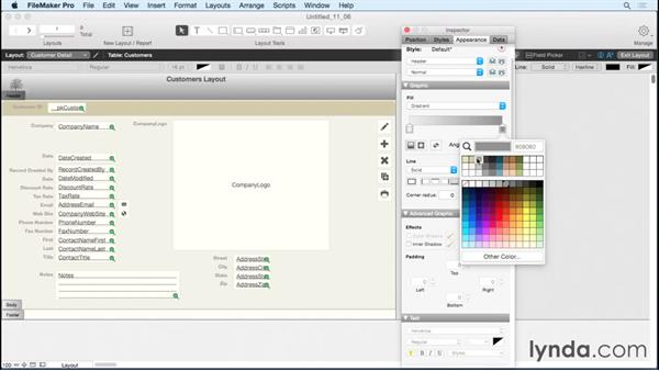 Applying gradients: FileMaker Pro 14 Essential Training