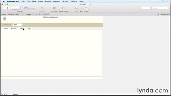Using the tab control feature: FileMaker Pro 14 Essential Training
