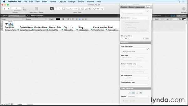 Sorting using buttons: FileMaker Pro 14 Essential Training