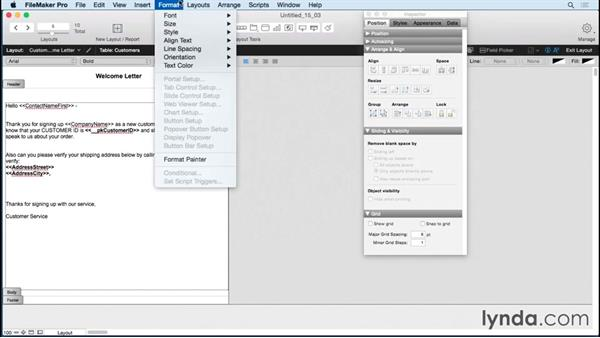 Printing merge letters: FileMaker Pro 14 Essential Training