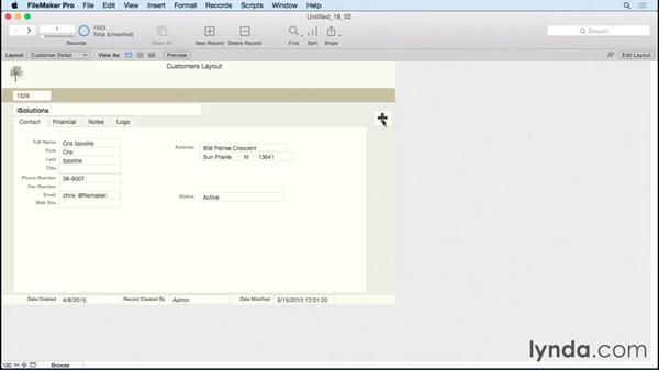 Assigning script steps to buttons: FileMaker Pro 14 Essential Training