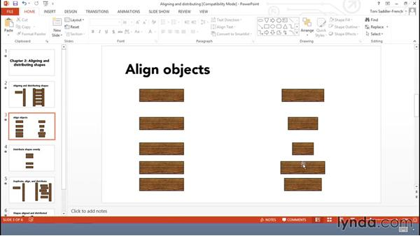 Aligning and distributing shapes: Using Office Shapes and SmartArt to Enhance Business Documents