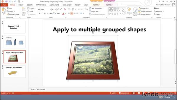 Using 3D rotation: Using Office Shapes and SmartArt to Enhance Business Documents