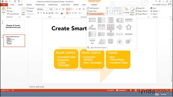 Creating SmartArt from bullets and text: Using Office Shapes and SmartArt to Enhance Business Documents