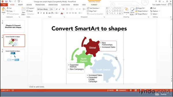 Converting SmartArt to shapes and pictures: Using Office Shapes and SmartArt to Enhance Business Documents