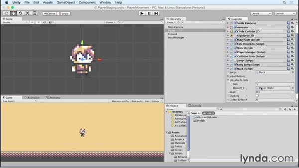 Disable other player behaviors when ducking: Advanced Unity 2D: Platformer Player Movement