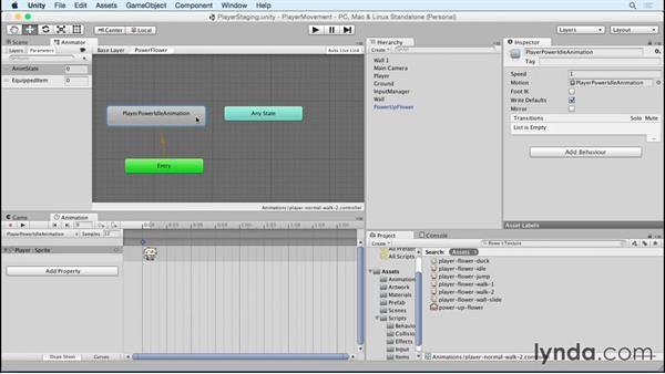 Changing animation based on item: Advanced Unity 2D: Platformer Player Movement