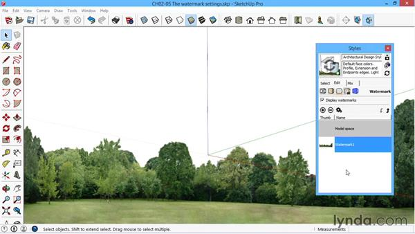 The watermark settings: SketchUp for Architecture: LayOut