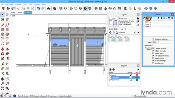 Adding scenes: SketchUp for Architecture: LayOut