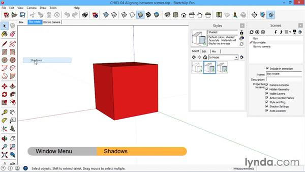 Aligning geometry between scenes: SketchUp for Architecture: LayOut