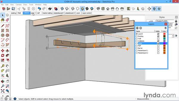 Acoustic ceiling animated: SketchUp for Architecture: LayOut