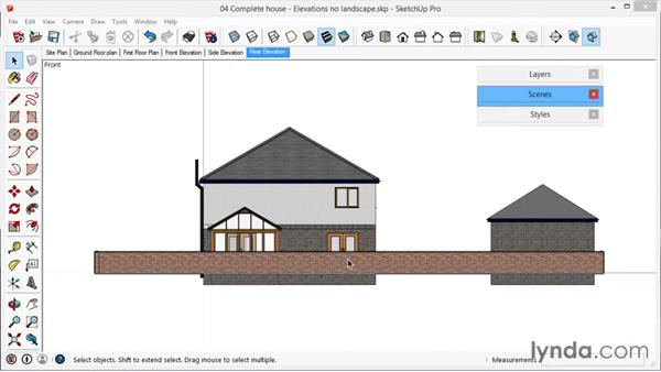 Elevations, no landscape: SketchUp for Architecture: LayOut