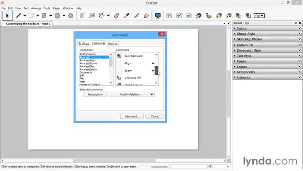 Customizing the toolbars: SketchUp for Architecture: LayOut