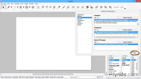 Loading the templates: SketchUp for Architecture: LayOut