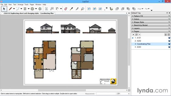 Duplicating sheets and changing styles: SketchUp for Architecture: LayOut