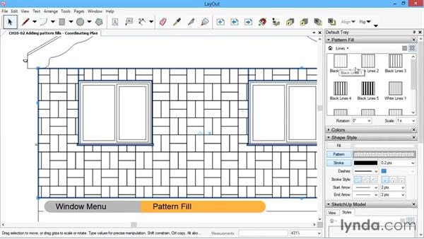 Adding pattern fills: SketchUp for Architecture: LayOut
