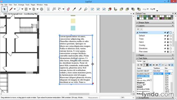 Paragraph text: SketchUp for Architecture: LayOut