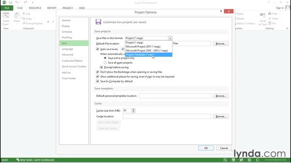 Saving project files in a specific format and location: Advanced Microsoft Project