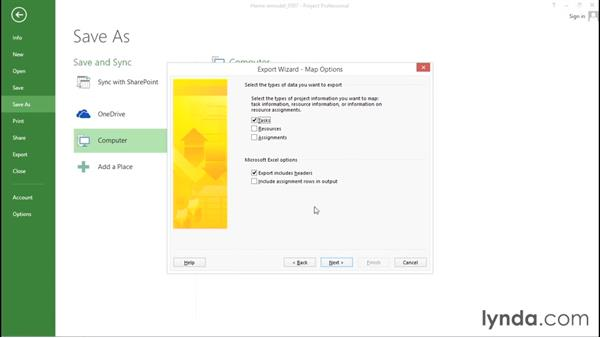 Exporting data from Project: Advanced Microsoft Project