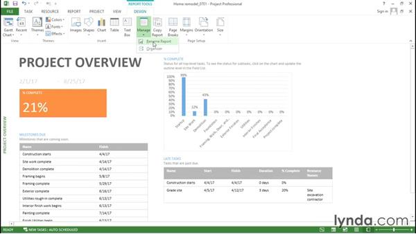 Creating a custom graphical report from an existing report: Advanced Microsoft Project