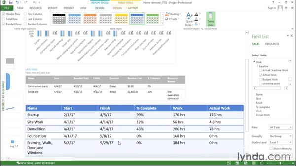 Customizing a table in a graphical report: Advanced Microsoft Project